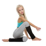 Yoga poses. Ardha Matsyendrasana variation Royalty Free Stock Photo