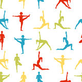 Yoga poses as seamless background. EPS,JPG. Seamless pattern. Yoga poses as seamless background. Colorful background with women.  Colorful seamless background Stock Photo