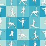 Yoga poses as seamless background. EPS,JPG. Seamless pattern. Yoga poses as seamless background. Background with women in blue color.  Blue seamless background Royalty Free Stock Image