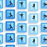 Yoga poses as seamless background. EPS,JPG. Seamless pattern. Yoga poses as seamless background. Background with women in blue color.  Blue seamless background Stock Photo