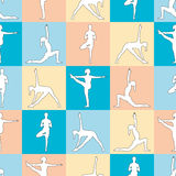 Yoga poses as seamless background. EPS,JPG. Seamless pattern. Yoga poses as seamless background. Background with women in blue, orange, yellow colors.  Multi Royalty Free Stock Image