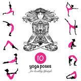 Yoga poses asanas pictograms composition poster Royalty Free Stock Photos
