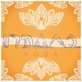Yoga poses background with  symbols Royalty Free Stock Image
