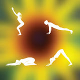 Yoga poses Blurred floral background Royalty Free Stock Photo