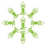 Yoga Poses Circular Green Stock Photo