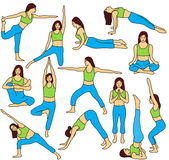 Yoga poses collection Royalty Free Stock Photo