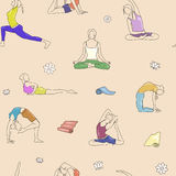 Yoga poses colorful pattern. Background line illustration, woman postures. Yoga poses colorful pattern. Background yoga line illustration. Yoga woman postures Stock Images