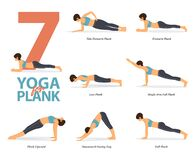 Free Yoga Poses For Yoga At Home In Concept Of Plank Poses  In Flat Design. Woman Exercising For Body Stretching. Vector Royalty Free Stock Image - 183483686