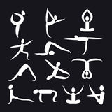 Yoga poses and health care icons for fitness symbols. Royalty Free Stock Images