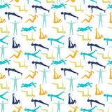 Yoga poses and health care pattern for fitness symbols. Stock Image