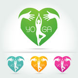 Yoga poses in heart with hug hand Royalty Free Stock Images
