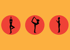 Yoga poses icon set ,healthy,Vector illustrations Royalty Free Stock Image