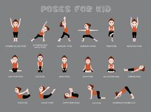 Yoga Poses For Kid Vector Illustration Royalty Free Stock Images
