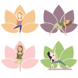 Yoga Poses with lotus. Set of yoga poses. With lotus on the background. Cartoon characters. Vector eps10 Stock Images