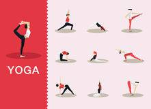 Yoga poses. Yoga and Pilates poses in a selection of contemporary style flat Royalty Free Stock Photography
