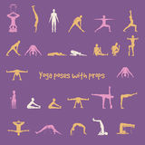 Yoga poses with props in vector. Royalty Free Stock Image