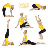 Yoga poses set: girl with blonde hair in yellow shirt. Yoga poses set: girl with blonde hair in yellow shirt isolated on white Royalty Free Stock Image