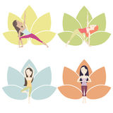 Yoga Poses set. Set of yoga poses im bright colors with cartoon characters. Vector eps10 Stock Photography