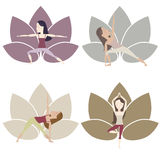 Yoga Poses set. Set of yoga poses im muted colors with cartoon characters. Vector eps10 Stock Photos