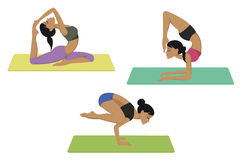 Yoga poses set Royalty Free Stock Photos