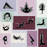 Yoga poses set with visualization. Vector illustration in eps8 format Royalty Free Stock Images