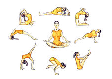 Yoga poses set: woman in orange sportswear in asana poses, simple illustrative collection of poses. Hand painted  watercolor illustration Yoga poses set: woman Stock Photo