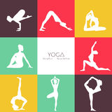Yoga poses silhouette set Royalty Free Stock Image