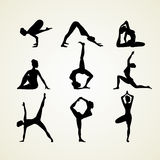 Yoga poses silhouette Royalty Free Stock Image