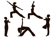 Yoga Poses Silhouettes Royalty Free Stock Image