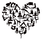 Yoga Poses Silhouettes Heart. A heart shaped set of detailed yoga poses and postures silhouettes Stock Photography