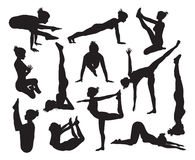 Yoga poses silhouettes Royalty Free Stock Photo