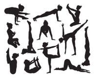 Yoga poses silhouettes Royalty Free Stock Photo