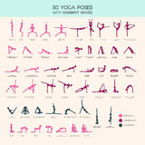 Yoga poses stick figure set. Vector set of stick figures doing yoga asanas, yoga people infographics, 50 basic poses for beginners and advanced learners Royalty Free Stock Photo