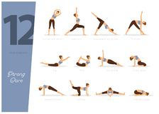 12 Yoga poses for strong core. Vector illustration of 12 Yoga poses for strong core stock illustration