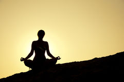 Yoga poses at sunrise Royalty Free Stock Photography