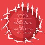 Yoga poses, Surya Namaskara Royalty Free Stock Photos
