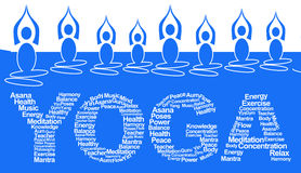 Yoga Poses And Text. Yoga text with tagcloud and yoga pose symbols on top royalty free illustration