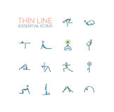 Yoga Poses - Thin Single Line Icons Set. Yoga poses - modern vector simple thin line design icons and pictograms set with accent color. Material design concept Royalty Free Stock Image