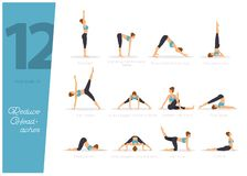 12 Yoga poses to reduce headaches. Vector illustration of 12 Yoga poses to reduce headaches vector illustration