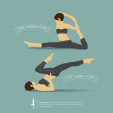 Yoga poses in two position. Vector Stock Photos