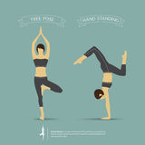 Yoga poses in two position. Vector. Stock Photo