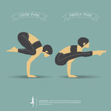 Yoga poses in two position. Vector. Royalty Free Stock Photos
