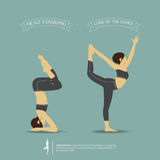 Yoga poses in two position. Vector. Royalty Free Stock Photo