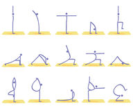 Yoga poses vector. Illustration of stylized yoga postures + vector eps file Royalty Free Stock Image