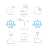 Yoga poses vector illustration in mono line style Royalty Free Stock Photos