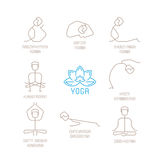 Yoga poses vector illustration in mono line style Royalty Free Stock Photo