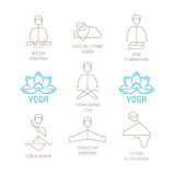 Yoga poses vector illustration in mono line style Royalty Free Stock Images