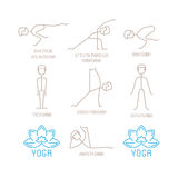 Yoga poses vector illustration in mono line style Stock Image