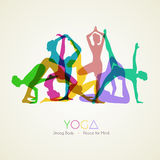Yoga poses woman's silhouette Stock Photography