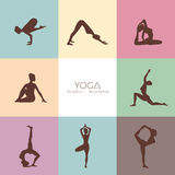 Yoga poses woman's silhouette Royalty Free Stock Photo